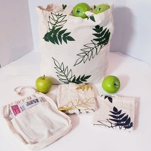 Other - 3 Bags 100% Cotton Canvas Bags! Set Of 3 + Pouch!